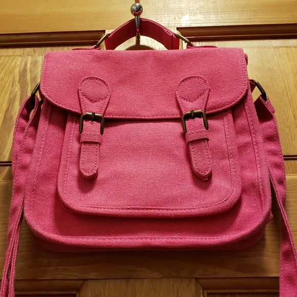 Canvas crossbody messenger style bag in PINK